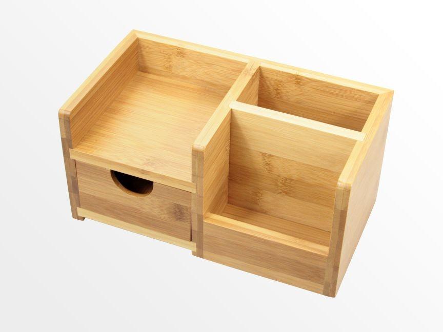 Desk Organiser Pen Holder And Drawer Bamboo Stationery