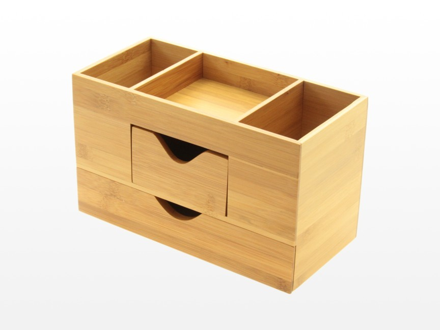 Desk tidy stationery box desk organiser bamboo office supplies - Bamboo desk organiser ...