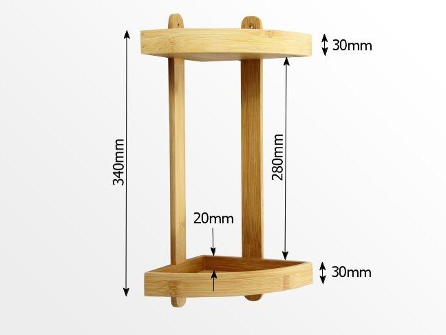 Dimensions of 2-tier corner shelf