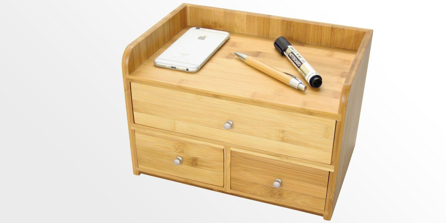 Desk Organiser with 3 Drawers | Bamboo Office Supplies