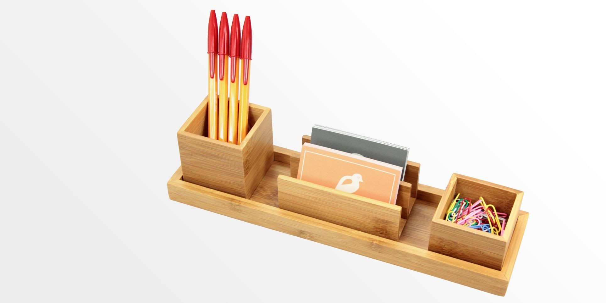 Desk organiser set of 4 pcs bamboo stationery organiser set office supplies - Desk stationery organiser ...