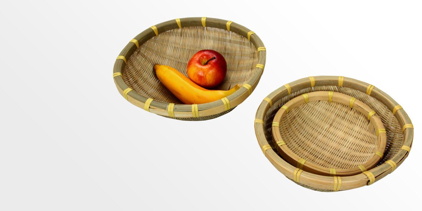 Set of 3 Woven Bamboo Fruit Bowls