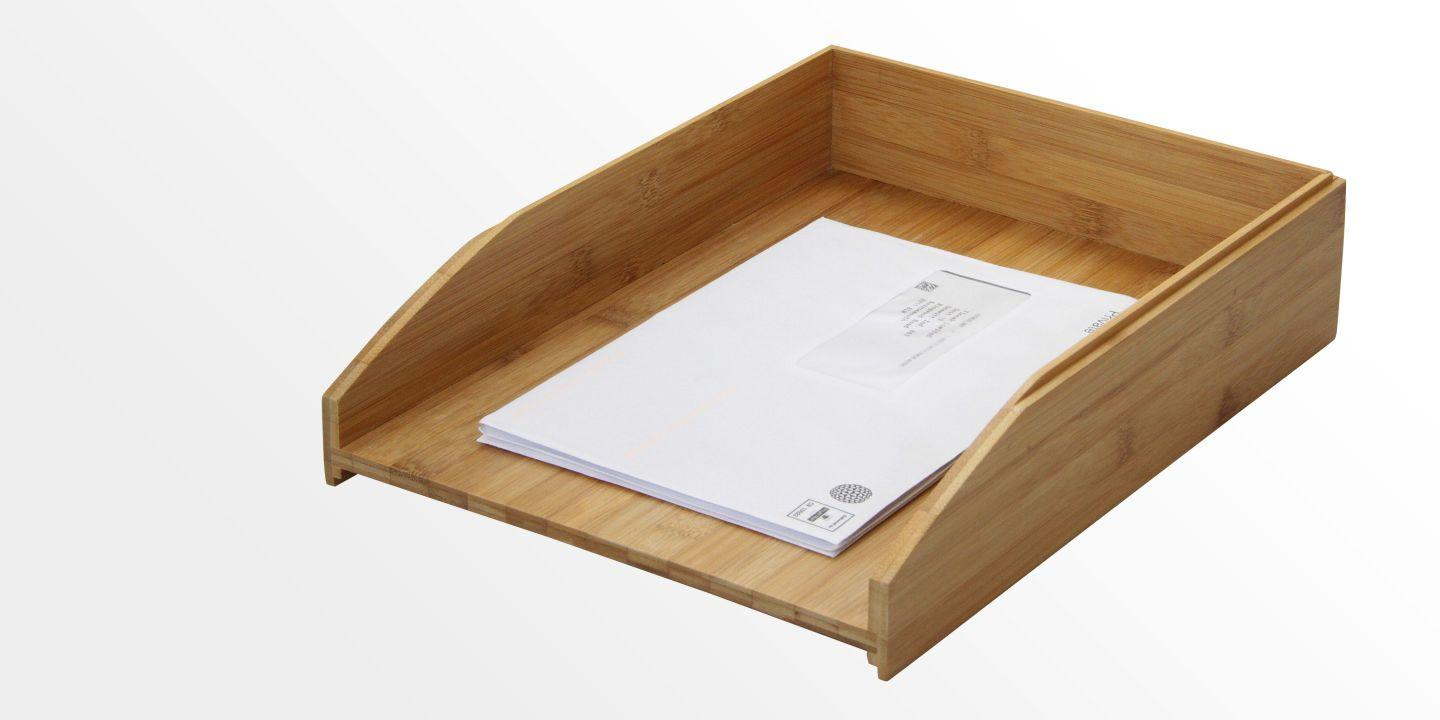 Bamboo Stackable Letter Rack Paper Tray