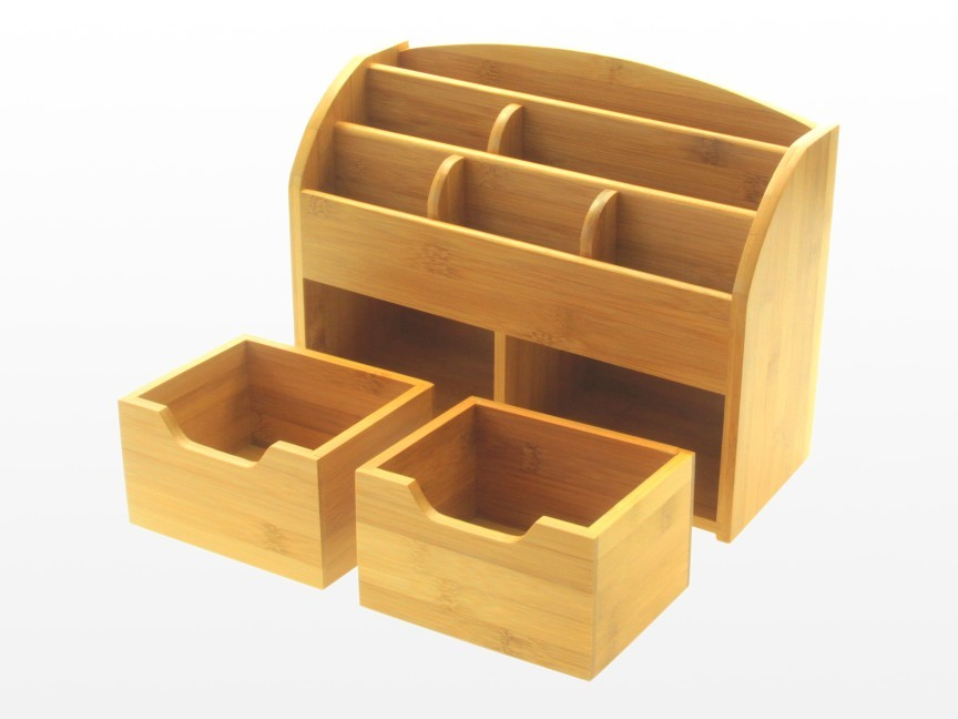 Bamboo desk stationery organiser or wall mounted ebay - Desk stationery organiser ...