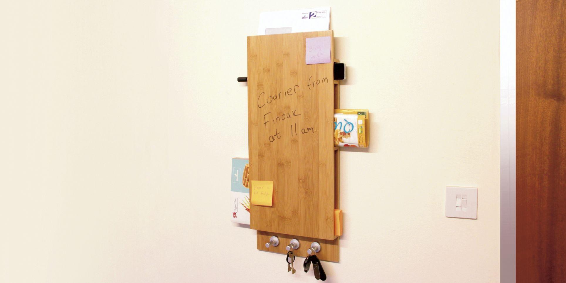 Noticeboard Keys Amp Letters Holder Bamboo Noticeboard