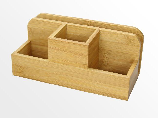 Desk organiser stationery box pen holder bamboo office supplies - Bamboo desk organiser ...