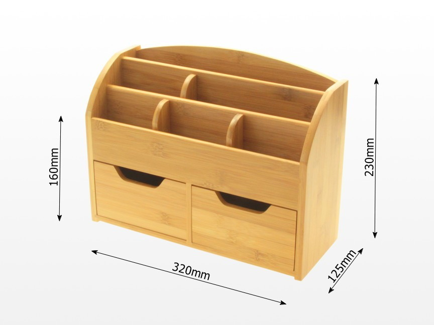 Desk stationery box wall mounted organiser bamboo office suppliers - Bamboo desk organiser ...