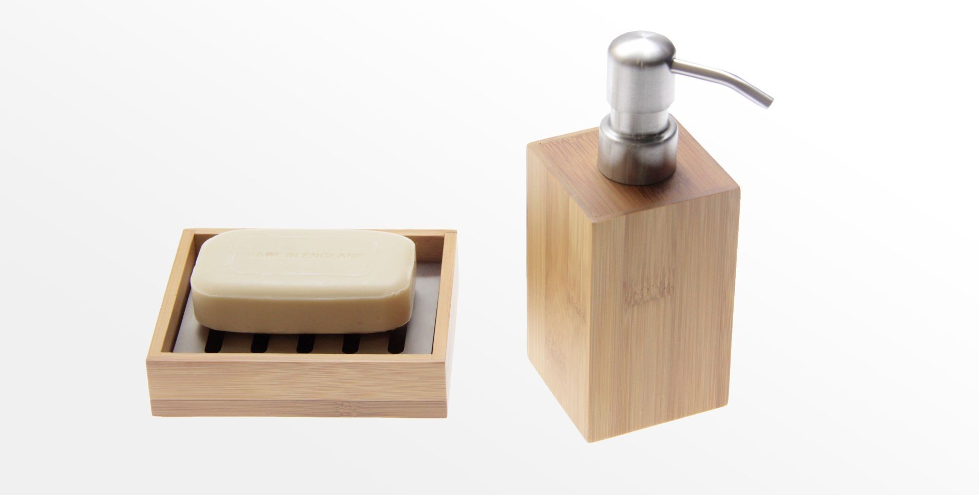 Bamboo Soap Dish and Lotion Dispenser