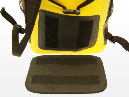 waterproof backpack, yellow travel pack, detachable cushion