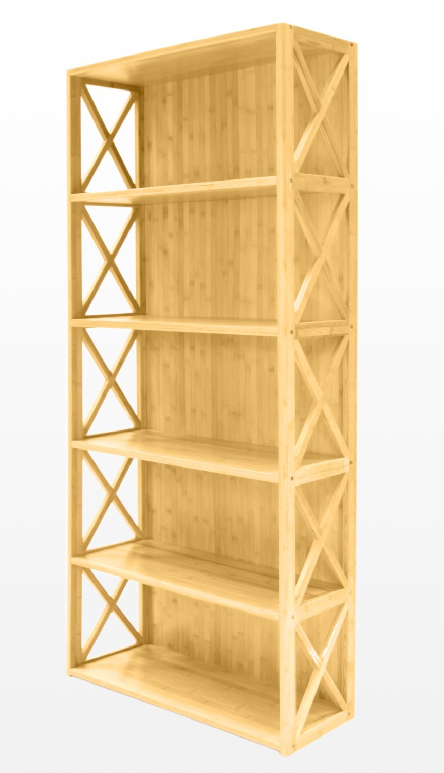 Bookshelf or office unit with five spacious shelves. Lattice work on ...
