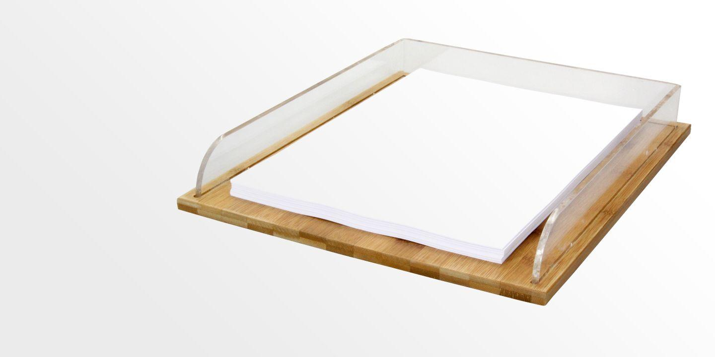 Letter rack paper tray bamboo acrylic for Bamboo letter tray