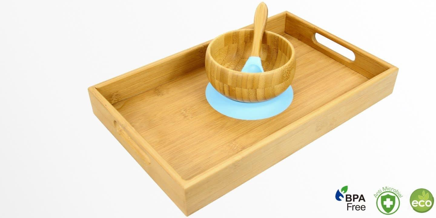 Bamboo Bowl and Spoon (Blue colour) with Tray