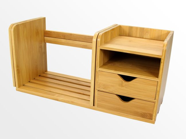 Adjustable bookshelf with drawers