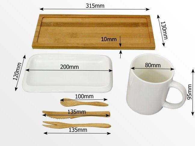 Dimensions of the breakfast set