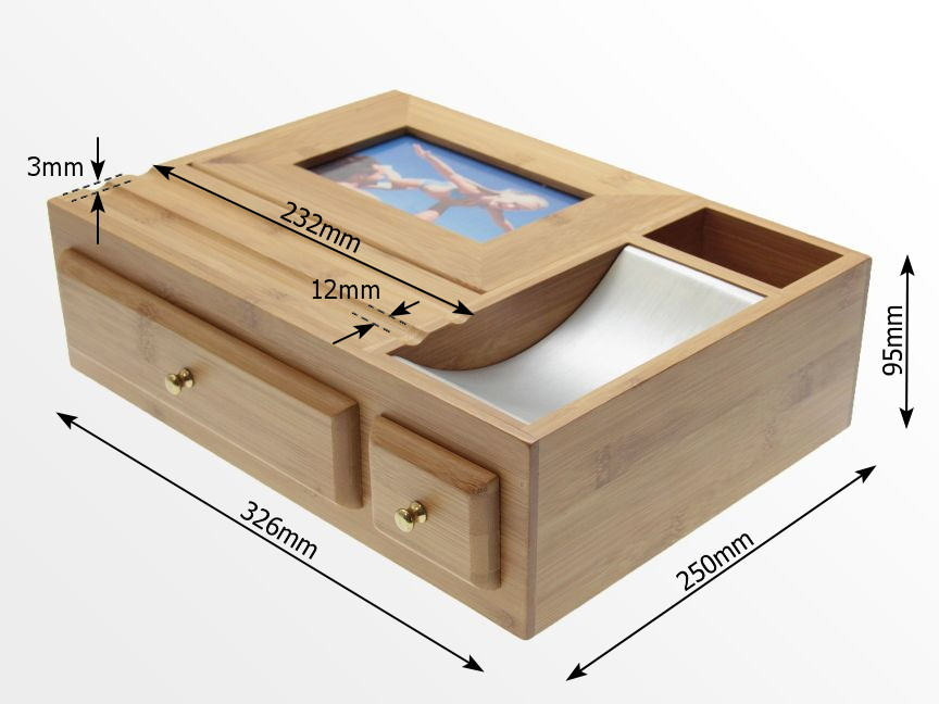 Dimensions of Bamboo Desk Organiser with Photo Frame