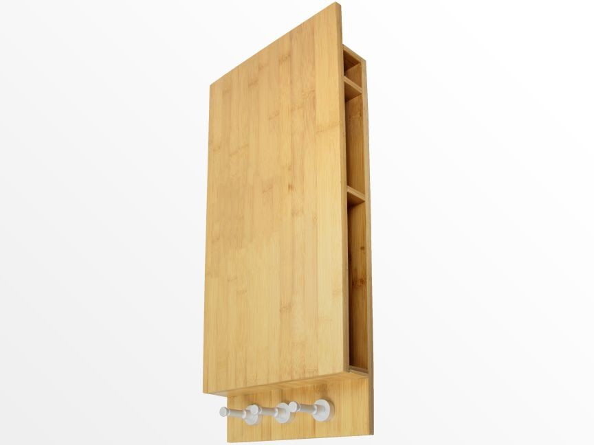 Bamboo notice board, keys and letter holder