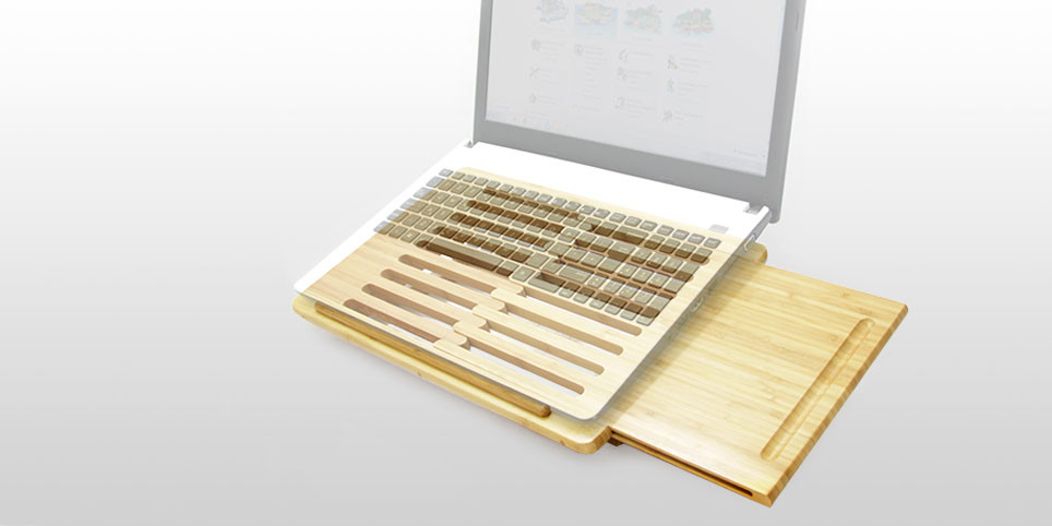 Laptop Stand Lap Desk Bamboo Office Supplies