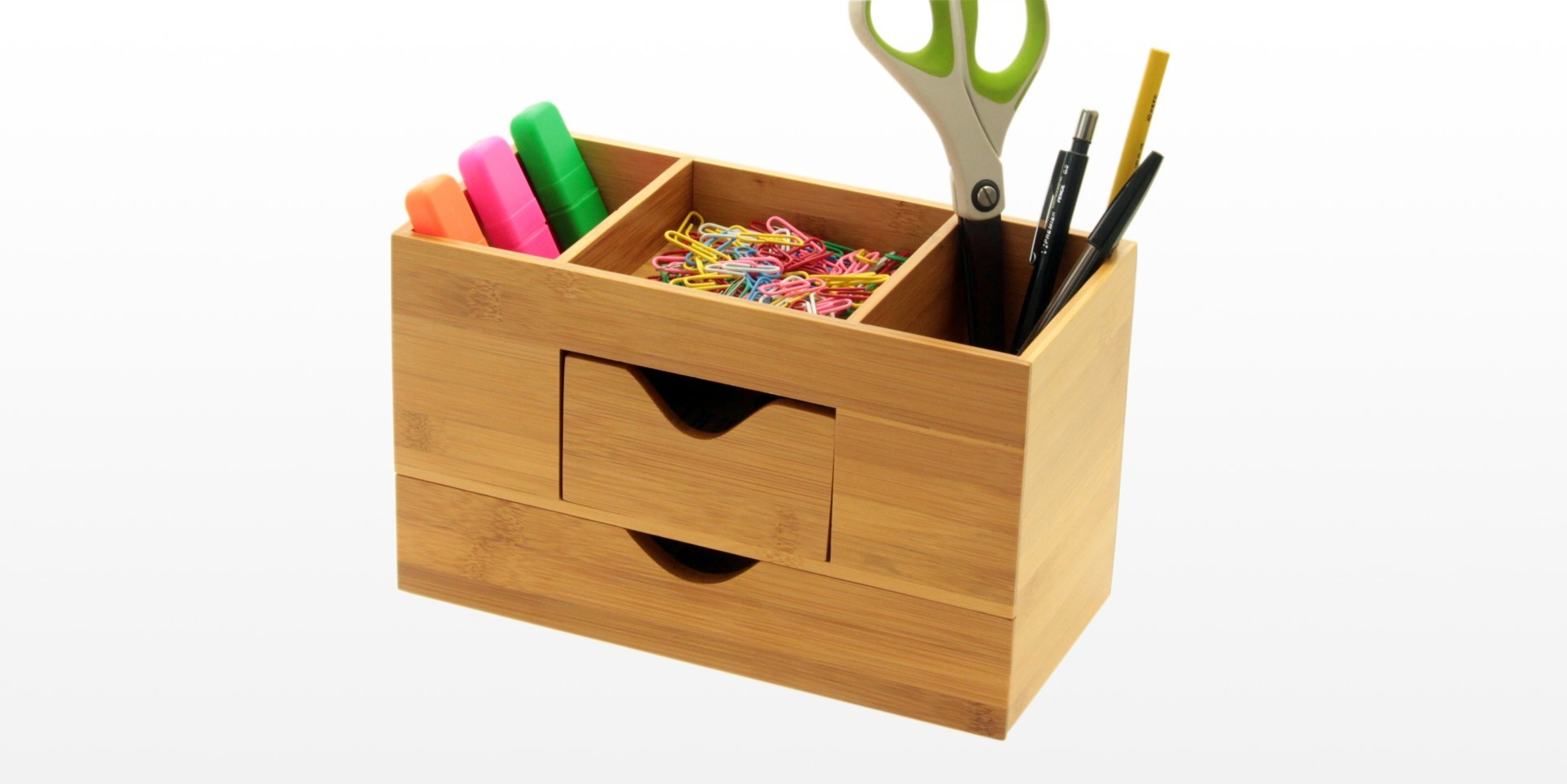 Desk Tidy Stationery Box Desk Organiser Bamboo Office