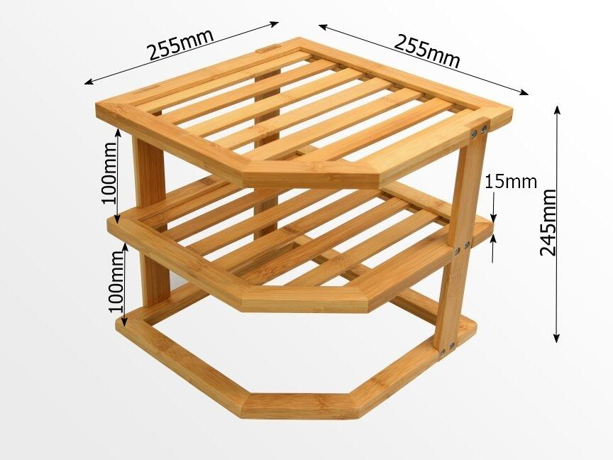 Dimensions of bamboo corner shelf