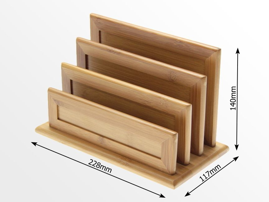 Dimensions of Bamboo 3 Slot Letter Rack