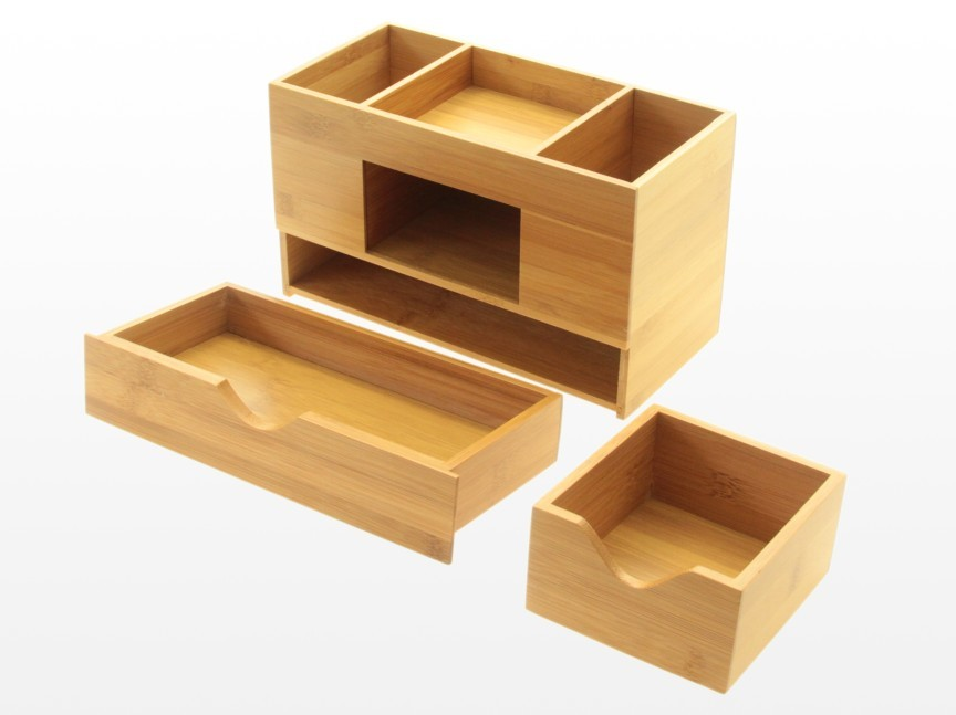 Bamboo desk organiser tidy stationery box storage ebay - Desk stationery organiser ...