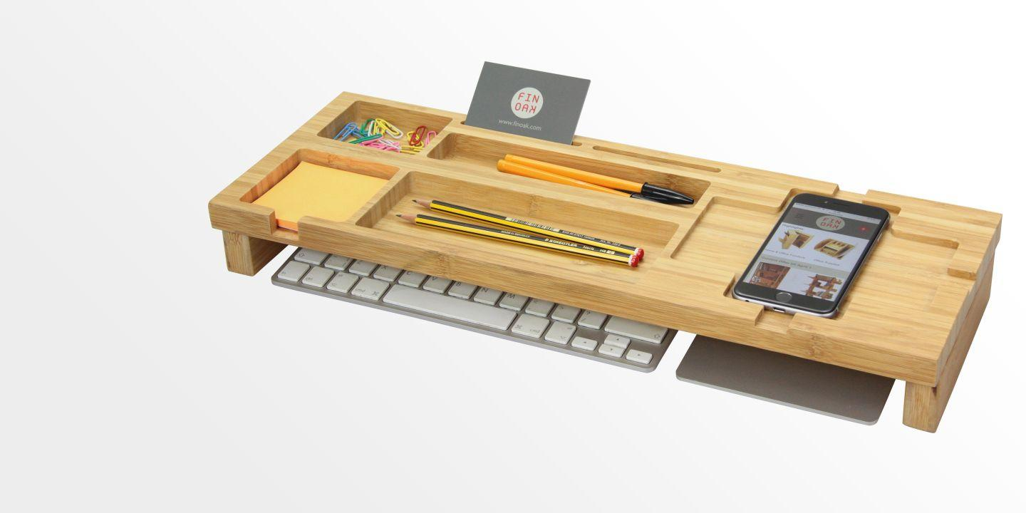 Bamboo Keyboard Top Desk Tidy Organiser
