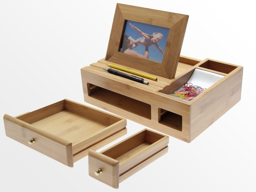 Desk organiser with photo frame bamboo stationary box bamboo desk tidy office supplies - Desk stationery organiser ...