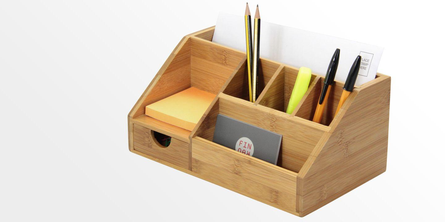 Stationery Organiser Letter Holder Bamboo Desk Organiser