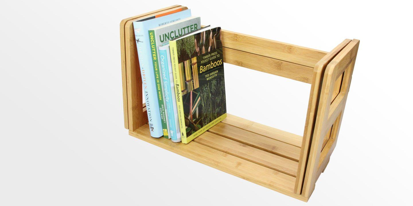 Expandable Adjustable Bookshelf | Bamboo Desktop Book Rack
