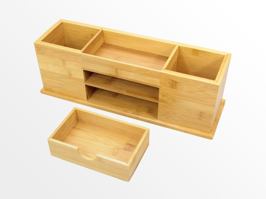 Desk tidy with drawer wide stationery organiser natural bamboo wood ebay - Desk stationery organiser ...