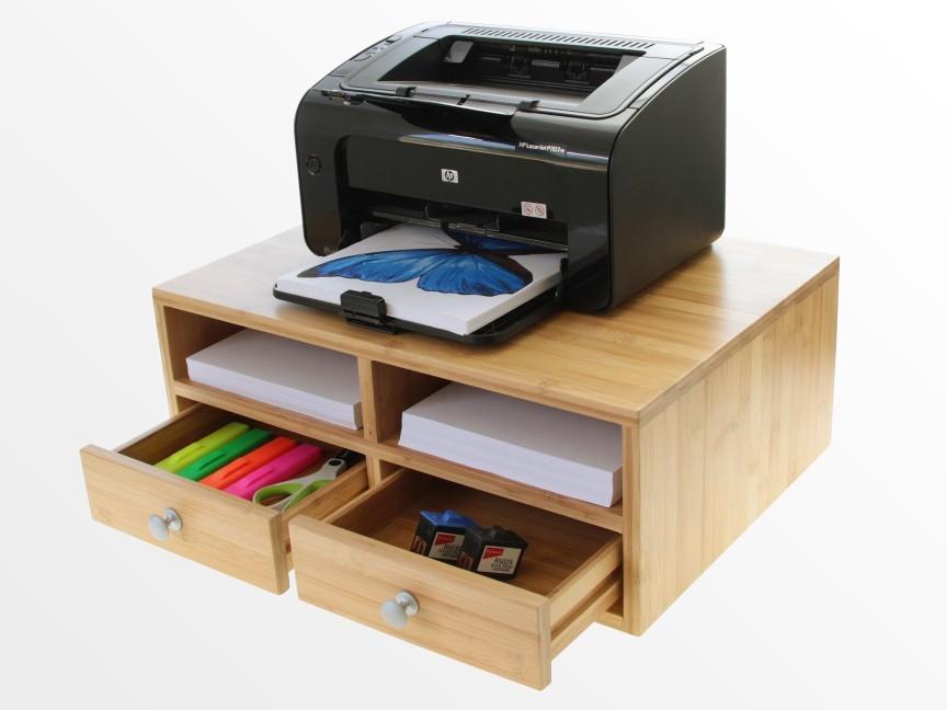 Bamboo Printer Stand Monitor Stand Desk Tidy Organiser