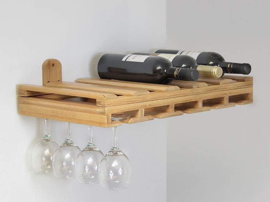 Hanging glass rack bamboo kitchen accessories Hanging wooden wine rack