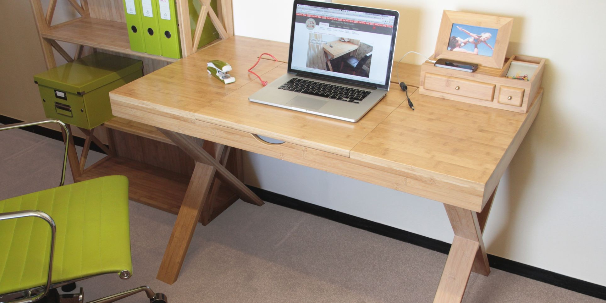 Cable-Tidy Home Office Desk, StudioDesk | Bamboo Furniture
