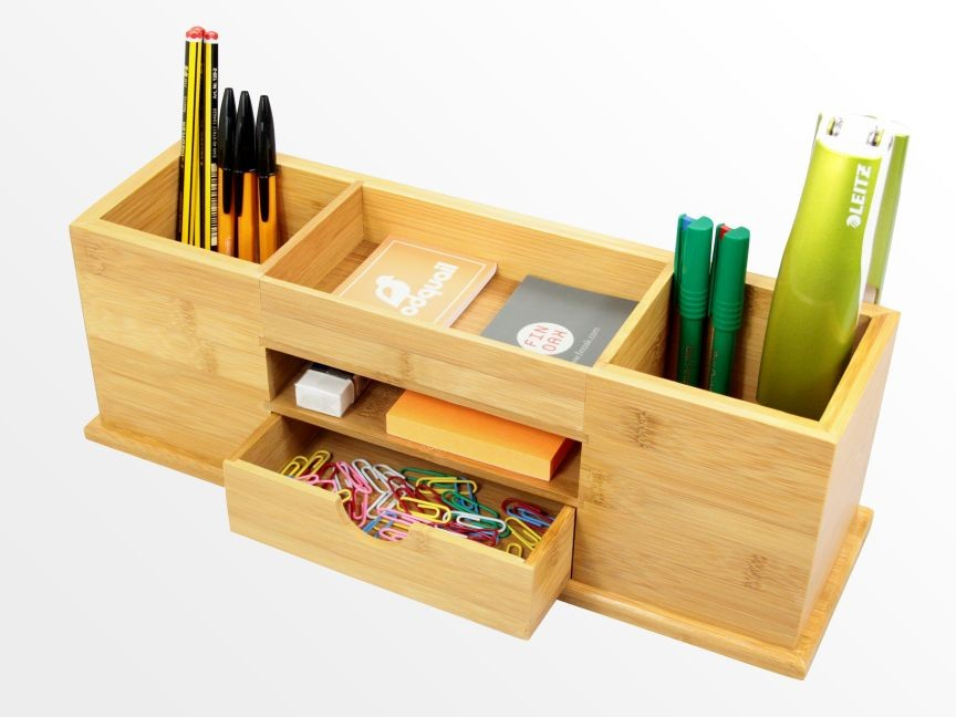 Bamboo desk tidy with drawer wide stationery organiser ebay - Desk stationery organiser ...