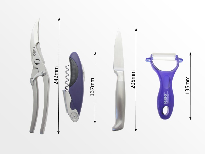Kitchen Scissors, Corkscrew, Paring Knife, Peeler