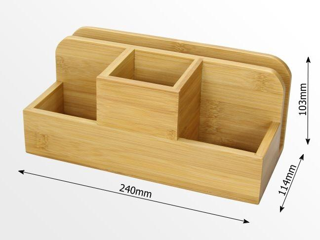 Desk organiser stationery box pen holder bamboo office supplies - Desk stationery organiser ...