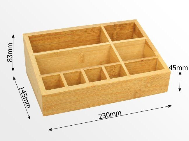Dimensions of bamboo cosmetic organiser