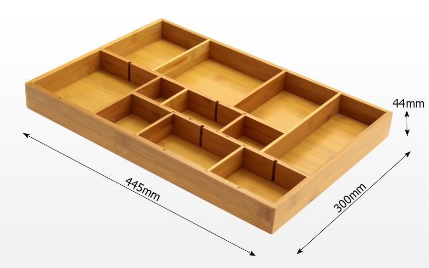 Adjustable Flatware Organizer Bamboo Kitchen Storage