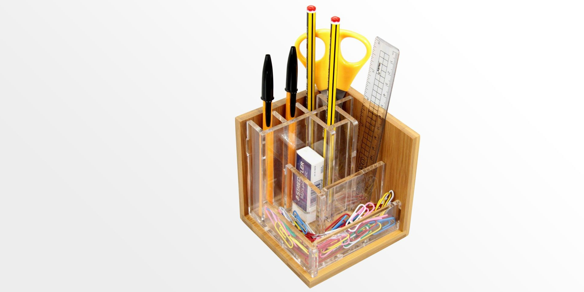 Pen Holder, Stationary Stand (Bamboo & Acrylic)