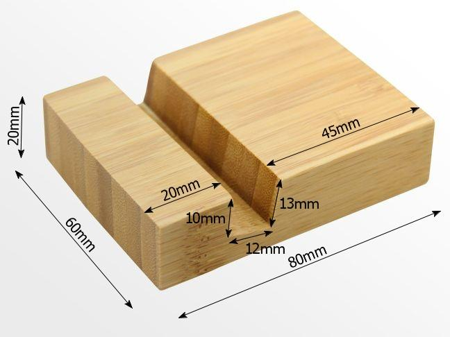 Dimensions of bamboo phone holder