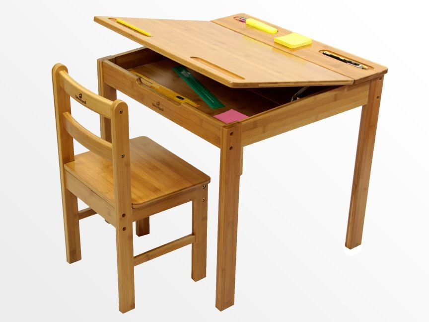 bamboo childrens desk and chair set arts and crafts activity table easel ebay. Black Bedroom Furniture Sets. Home Design Ideas