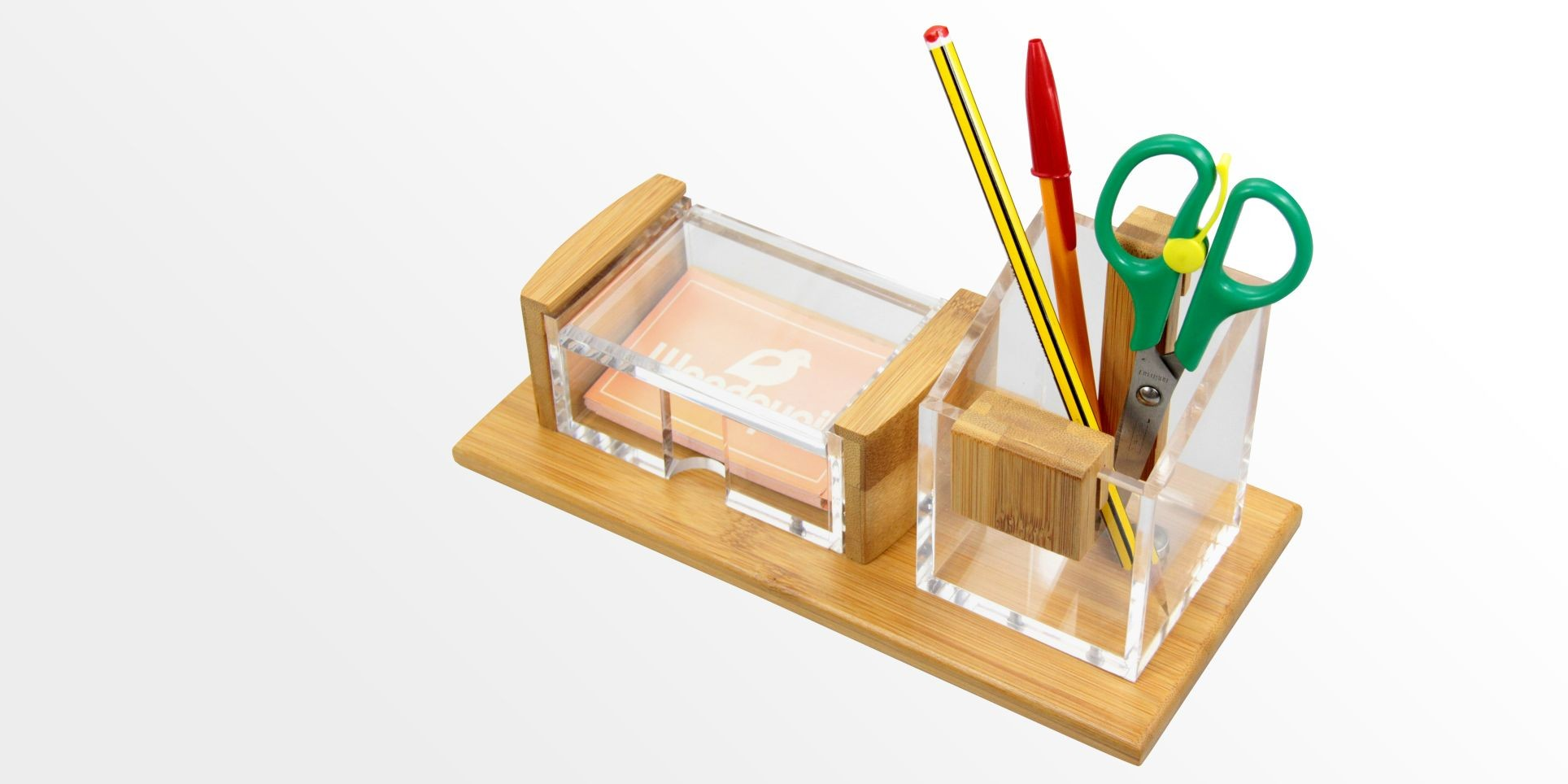 Pen Pot and Card Holder | Bamboo Stationery Organiser | Office ...