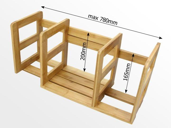 Dimensions of expandable adjustable bookshelf