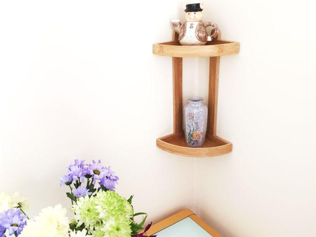 Bamboo 2-Tier Corner Shelf