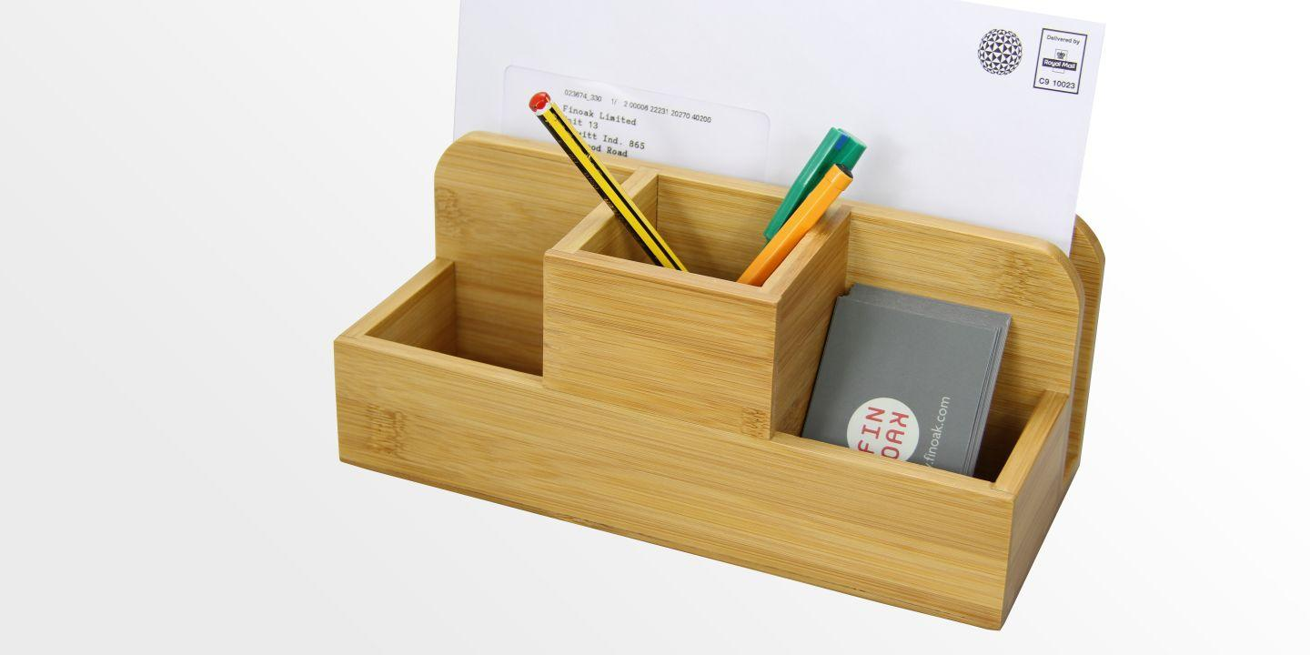 SKU1074 Bamboo Desk Organiser Stationery Box on rubber desk accessories