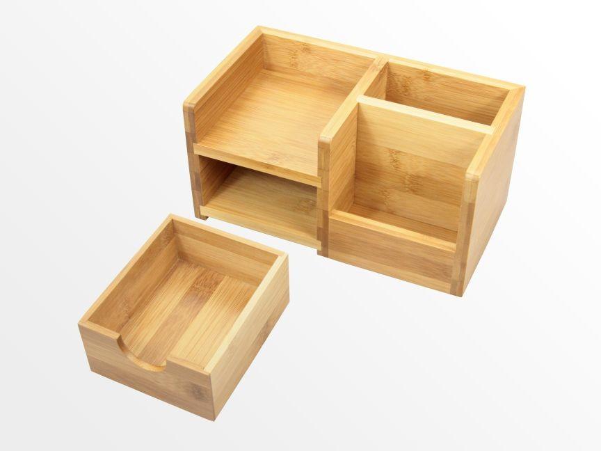 Desk Organiser, Pen Holder and Drawer | Bamboo Stationery ...
