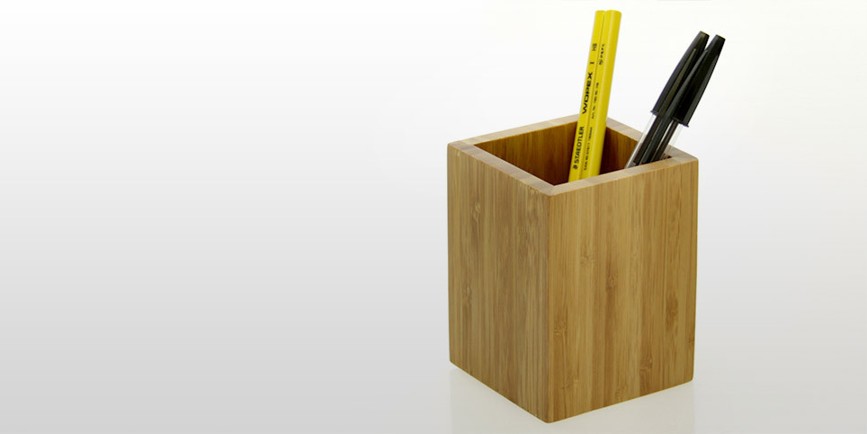 Pen Holder Pencil Pot Bamboo Office Supplies