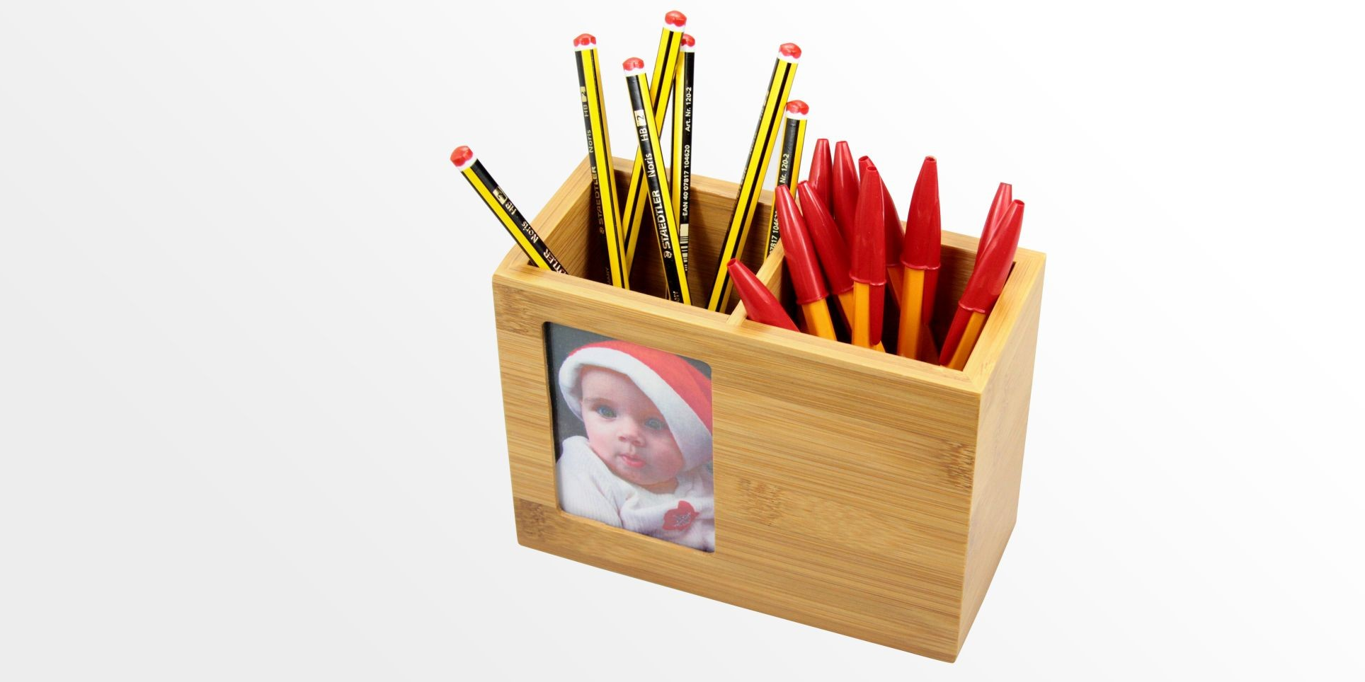 Bamboo Pen Holder with Photo