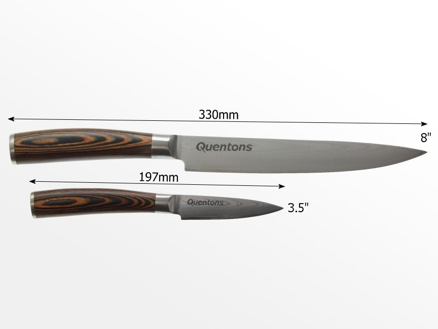 dimensions of damascus knives set