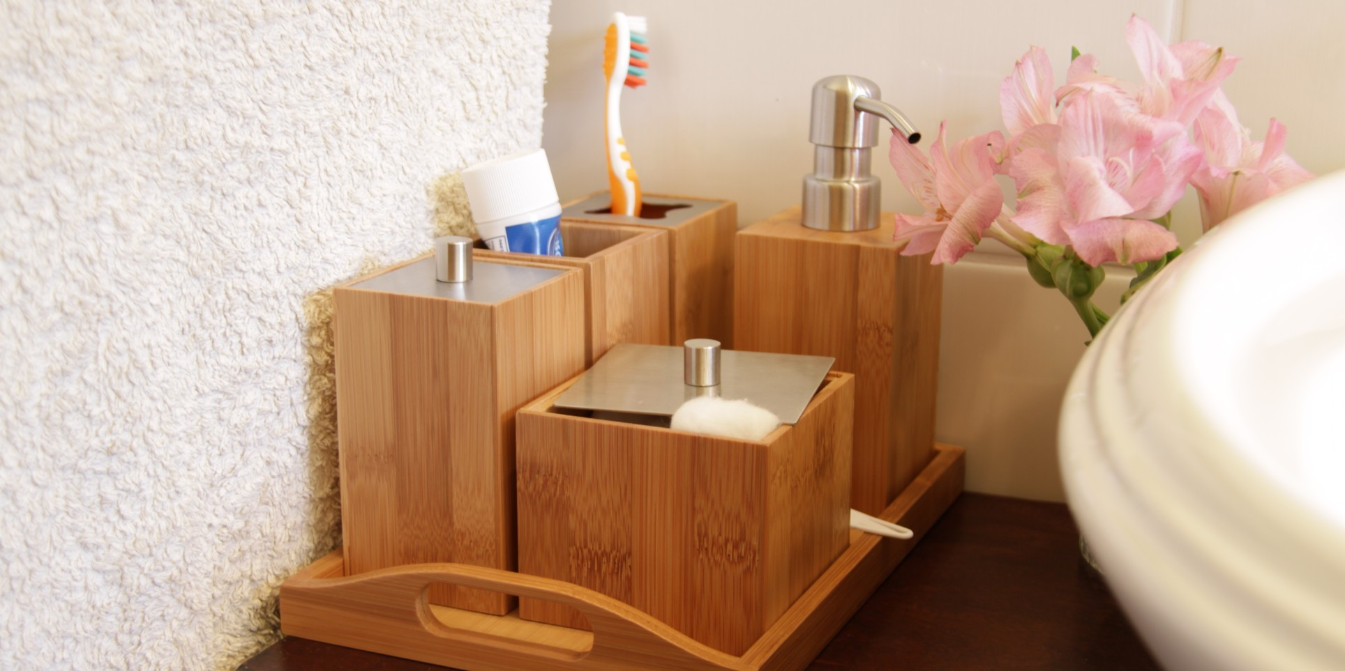 bamboo bathroom set bathroom accessories set finoak online shop bamboo for home